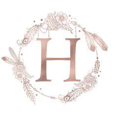 Letter H Rose Gold Pink Initial Monogram Comforters by Nature Magick - Queen: x Monogram Letters, Monogram Initials, Monogram Canvas, L Wallpaper, Framed Art Prints, Canvas Prints, Fleurs Diy, Rose Gold Pink, Flower Crowns