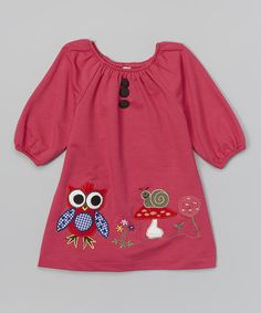 Take a look at this Fuchsia Owl & Snail Appliqué Dress - Toddler & Girls on zulily today!