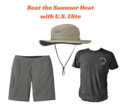 I want to #win #USEliteGear & #OutdoorResearch #BeatTheHeat #Summer #Giveaway! Perfect Bundle! Helios Sun Hat will protect from the sun, U.S. Elite tee is super cool and soft  and Ferrosi shorts are uber #comfy!