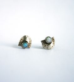 Tiny Moon Stud Earrings   Handmade from sterling silver and set with opal half moons, th...   Earrings