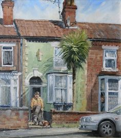 "John Lines - ""Abbey Street Holiday"" John Works, Leave Art, Line Artist, Urban Life, Art Studies, Contemporary Paintings, Landscape Art, Home Art, House Painters"