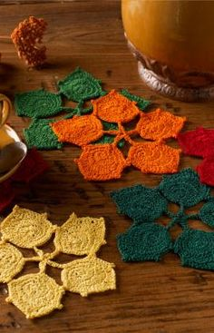 """Original pinner said, """"Dancing Leaves Coasters Free Crochet Pattern from Aunt Lydia's Crochet Thread"""