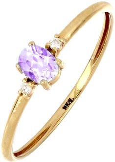 18K Gold Oval Amethyst & Diamond Ring