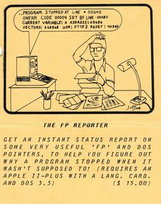 Flyer ad for The FP Reporter program (1981). Variables, Telephone, Pointers, Programming, Connection, Software, Coding, Stylus, Phone