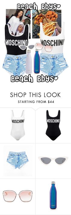 """Beach Bbys"" by court4life ❤ liked on Polyvore featuring Moschino, Le Specs, Chloé and S'well"