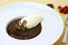 Chocolate creamy soup with ice cream