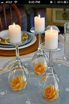 upside down wine glasses, use ornaments instead of flowers