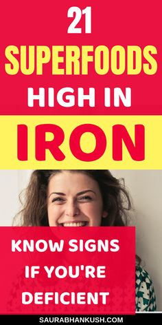 21 Iron-Rich Foods + Signs to Know if You're Deficient – SaurabhAnkush Best Iron Rich Foods plus How to know Iron Deficiency Symptoms. My Iron Rich foods for anemia woman or foods high in iron are natural. Make sure to take these iron rich foods. Iron Rich Foods List, Foods With Iron, Foods High In Iron, Fruits High In Iron, Iron Rich Recipes, Iron Deficiency Symptoms, Anemia Symptoms, Food For Anemia, Anemia Diet