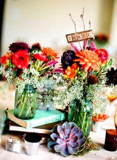 DIY Antique Aqua Blue Ball Mason Jar Flower Vase Centerpieces