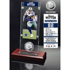Jason Witten Ticket & Minted Coin Acrylic Desk Top