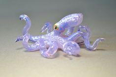 Purple Octopus blown glass art sculpture by Glassnfire on Etsy