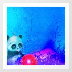 Baby panda plays with its balloon Art Print by ganech - $15.60