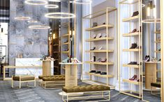 Luxury Shoe Store Design yet luxurious shoe store design by Comelite Architecture Structure and Interior Design, white and taupe as the main color scheme, with accents of gold in the shoe rack Design Shop, Home Design, Shoe Store Design, Shop Front Design, Fashion Store Design, Fashion Stores, Design Ideas, Showroom Interior Design, Boutique Interior Design