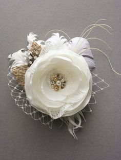 Ivory Rustic Bridal Flower Hairpiece, Wedding Fascinator, Bridal Wedding Hair Accessory, Light Ivory, Beige Champagne Feathers Burlap  Veil on Etsy, $40.00