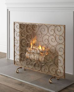 """Golden Swirl"" Fireplace Screen - Horchow"