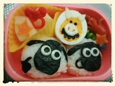 "Shaun the Sheep riceballs and Naughty Pig boiled egg. Find out  more character bentos on Facebook site ""Cool& Kawaii Character Bento""!!"