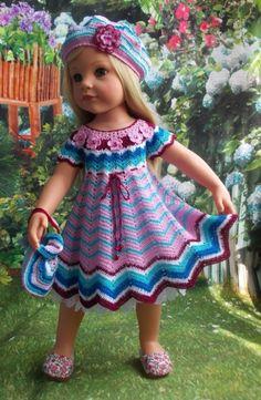 Мои конкурсные работы для Готц / Одежда и обувь для кукол своими руками / Бэйбики. Куклы фото. Одежда для кукол Crochet Doll Dress, Crochet Doll Clothes, Knitted Dolls, American Girl Crochet, Baby Girl Crochet, American Girls, Hairpin Lace Crochet, Doll Dress Patterns, Baby Girl Hats