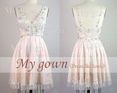 2014 Lace Homecoming DressStraps Beading Lace Short Prom by MyGown, $119.90