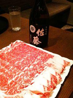 Sukiyaki beef and shochu!
