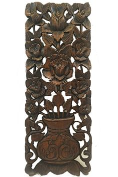 "Carved Wood Wall Art Panel. Oriental Wood Wall Sculpture. Large Carved Wood Panel. Floral Carving Wood Plaque. Dark Brown Finish 35.5""x13.5""x1"""