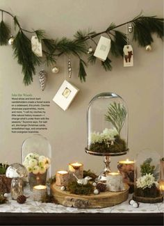 Holiday Decor Inspired by Nature Absolutely love this nature-focued Christmas holiday decor—the various elements are exceptional together❣ Woodland Christmas, Noel Christmas, Rustic Christmas, Winter Christmas, Christmas Branches, Christmas Cards, Christmas Garlands, Christmas Buffet, Advent Wreaths
