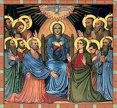 Coptic (Egyptian) painting of the Pentecost in icon style, artist unknown.