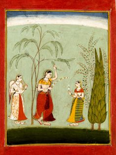Lady with companions; Paintings, watercolour paper, Bundi, c.1680.  http://collections.vam.ac.uk/item/O433329/painting/