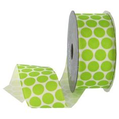 """This Packed Polka Grosgrain Ribbon is perfect for decorating scrapbook pages, greeting cards, invitations, wrapping packages, hair accessories and so much more.The ribbon is made of 100% polyester.    Ribbon Details:      Ribbon Width: 1 1/2""""    Color: Lime    Ribbon Type: Grosgrain    Spool Length: 4 Yards"""
