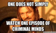 One does not simply watch one episode of Criminal Minds .... Because there are 11 seasons to watch, and maybe it's been a few years since you watched it, and you decided you just wanted to watch the whole show over again.