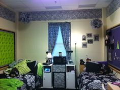 Baylor Girl's Live it Up, This is my freshman year dorm, at Baylor University:), best view of the entire room. (the zebra around the top is wrapping paper from hobby lobby), Dorm Rooms Design