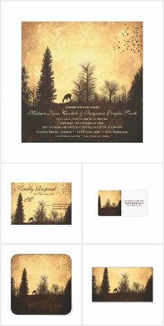 Rustic Deer in Trees Wedding Invitation Set.- Explore More Theme Match Sets at...  http://www.Zazzle.com/WeddingInvitationKit