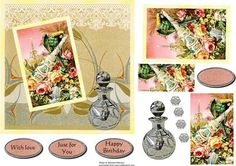 Roses and Perfume on Craftsuprint designed by Barbara Alderson - pyramid topper on a card front with perfume bottle - Now available for download!