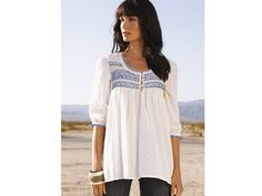 lady tops smock   Embroidered Cotton Smock Top