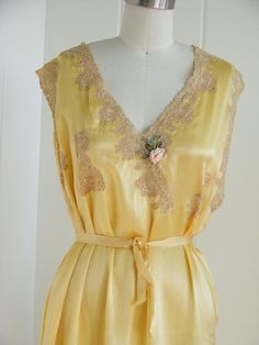 Yellow nightgown with lace inserts and floral nosegay!