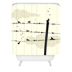 Belle13 Cats And Birds On Wires Shower Curtain | DENY Designs Home Accessories