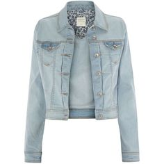 Bleach Wash Denim Jacket ($36) ❤ liked on Polyvore featuring outerwear, jackets, casacos, tops, bleached denim jacket and blue jackets