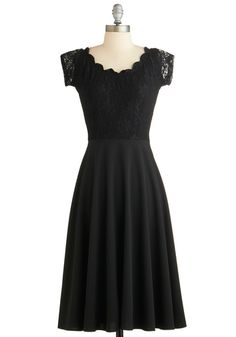 Up, Opera, and Away Dress by Stop Staring! - Long, Black, Solid, Lace, Cocktail, A-line, Cap Sleeves, Scoop, Vintage Inspired, 50s, Luxe