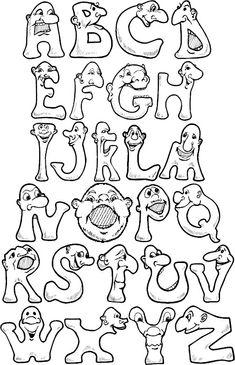 full alphabet pages jonah Graffiti Lettering Fonts, Hand Lettering Alphabet, Creative Lettering, Calligraphy Alphabet, Script Lettering, Bear Coloring Pages, Alphabet Coloring Pages, Alphabet Templates, Alphabet Design