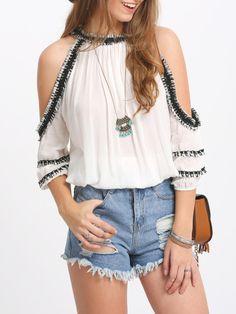 White Crochet Trim Cold Shoulder Blouse