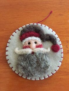 Handsome Needle Felted Santa Face Christmas Ornament by Sita802