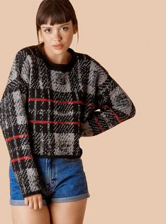b69f7548547c05 Layne Sweater UNIF  39 Dropped shoulders and a cropped length. Contrast rib  at the bottom