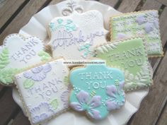 Floral Thank You Cookies- i love the idea of thank you cookies for people who perform special tasks in your life. Thank You Cookies, Sweet Cookies, Iced Cookies, Cute Cookies, Cupcake Cookies, Sugar Cookies, Frosted Cookies, Birthday Cookies, Sugar Cookie Royal Icing