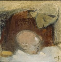 Finnish National Gallery - Art Collections -H. Schjerfbeck, Mother and Child, 1917 Photographer: Finnish National Gallery / Ateneum/Aaltonen, Hannu Helene Schjerfbeck, Helsinki, Female Painters, Portrait Illustration, Mother And Child, Madonna, Painting & Drawing, Modern Art, Girl Reading