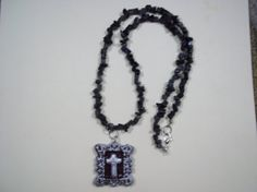 black cherry and silver  CROSS pendant necklace by crgoldart