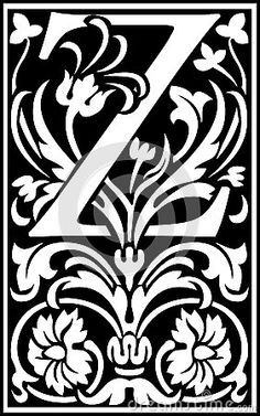 Flowers decorative letter Z Balck and White