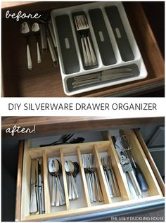 Time for a more organized kitchen! This easy to make custom DIY silverware drawer organizer makes better use of space than a store-bought version! Silverware Drawer Organizer, Kitchen Drawer Organization, Kitchen Organization, Organized Kitchen, Makeup Organization, Organize Kitchen Utensils, Diy Drawer Dividers, Kitchen Utensil Organization, Kitchen Organizers