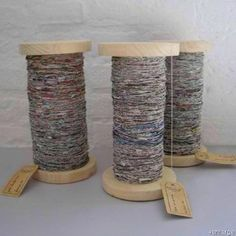 How to make newspaper yarn using a spindle. Genius.