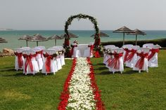Red White wedding ceremony Algarve Portugal by Algarve Wedding Planners