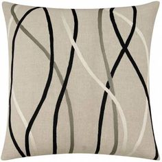 Judy Ross Textiles Embroidered Linen Streamers 24x24 Throw Pillow cream/black/pewter