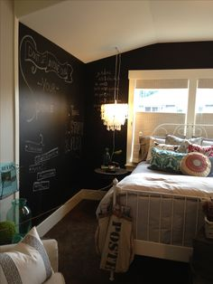 Paint one wall, or all of them, with chalkboard paint. Fun idea for a teenager's bedroom!